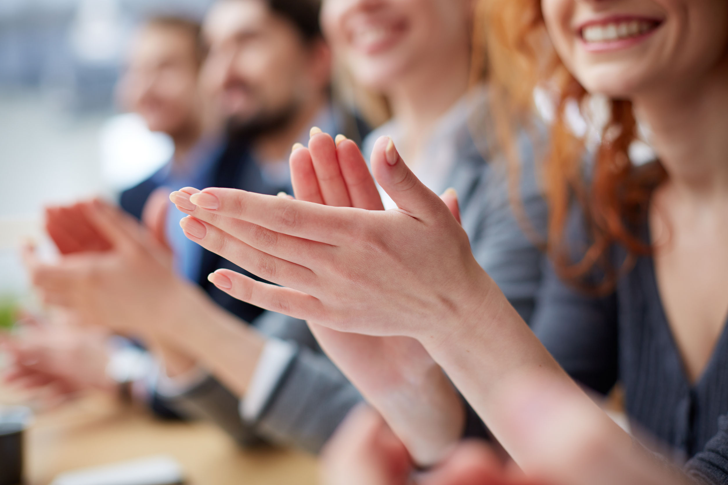 28753166 – Photo Of Business People Hands Applauding At Conference